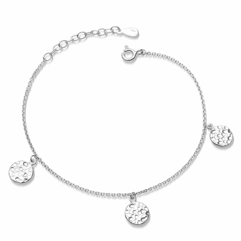 Armkette Hammerschlag mit 3 Plättchen in Silber