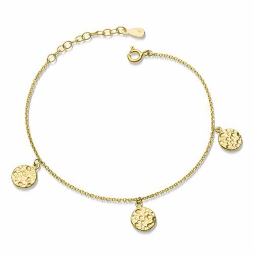 Armkette Hammerschlag mit 3 Plättchen in Gold