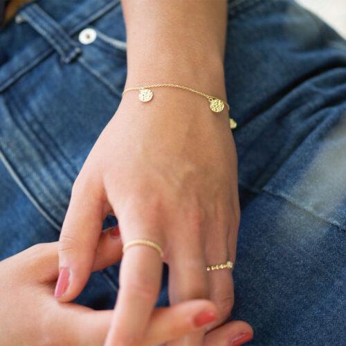 Hammerschlag Armkette Gold