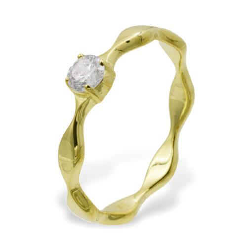 Ring geschwungen mit Zirkonia Gold