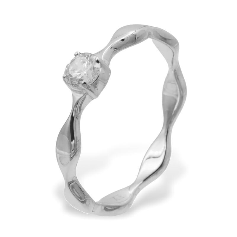 Ring geschwungen mit Zirkonia Silber