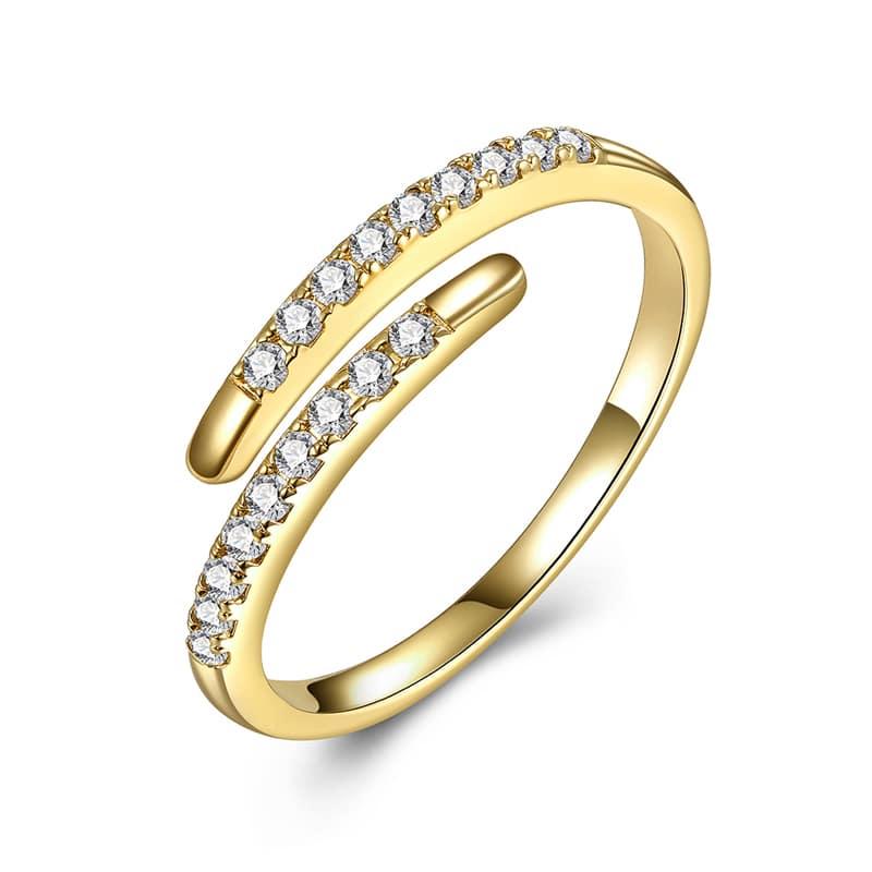 Schlangenring Gold mit zirkonia steinchen