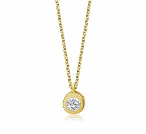 Halskette mit Zirkonia Anhänger Gold