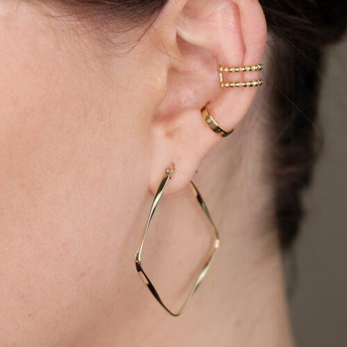 Ear Cuff Gold und Viereck Ohrringe Gold