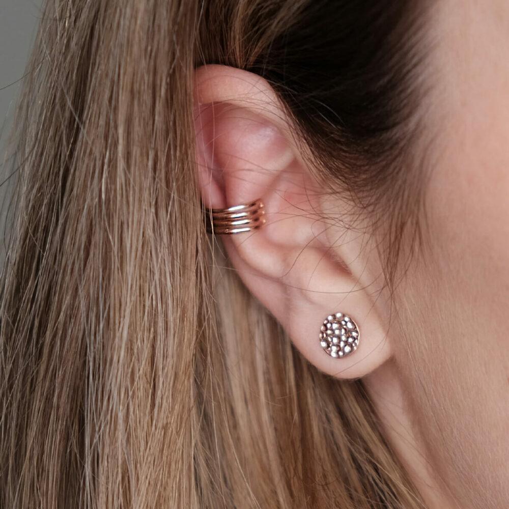 Ear Cuff und Hammerschlag Ohrring in roségold
