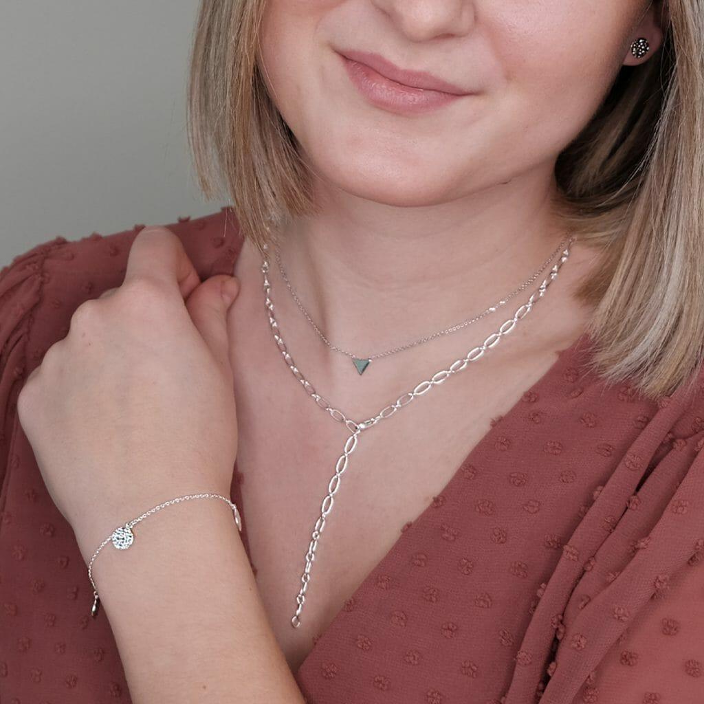 Hammerschlag Armkette silber, Dreieck Halskette Silber und Figaro Ankerkette Silber