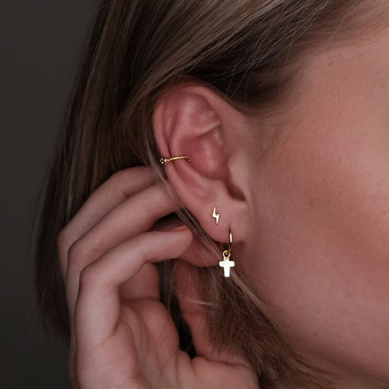 Blitz Ohrstecker mit Ear Cuff und Kreuz Ohrring