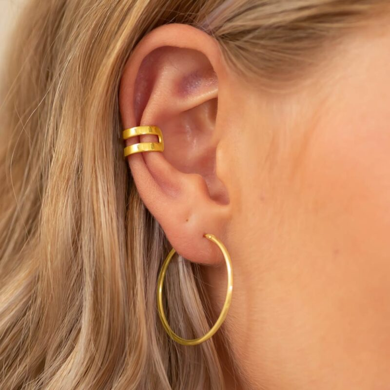 Ear Cuff und Creolen Gold