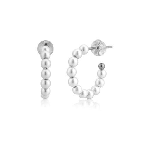 Hoops Creolen mit Perlen Silber