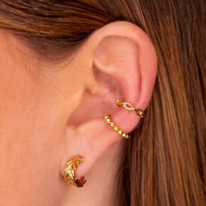 Blatt Ohrring Gold mit 2 Ear Cuffs