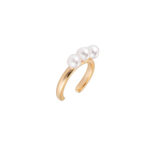 Ear Cuff mit 3 Perlen Gold