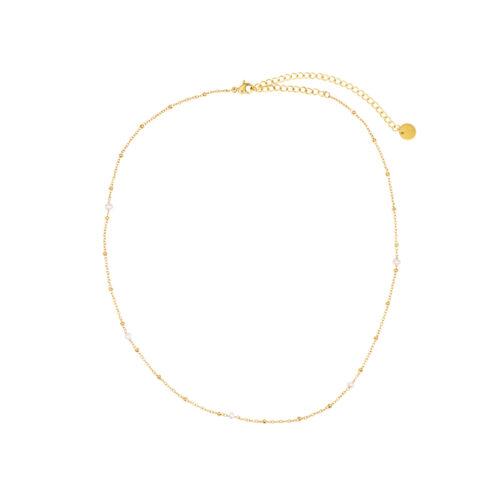 moderne Perlen Halskette Gold