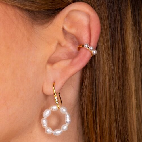 Perlen Ear Cuff und Ohrringe Perlen