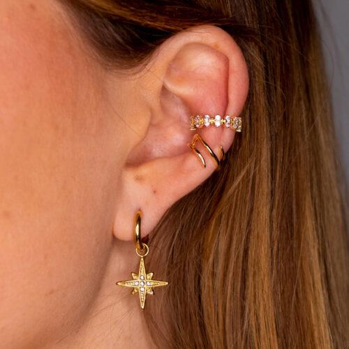Ohrring Stern Gold mit Ear Cuff