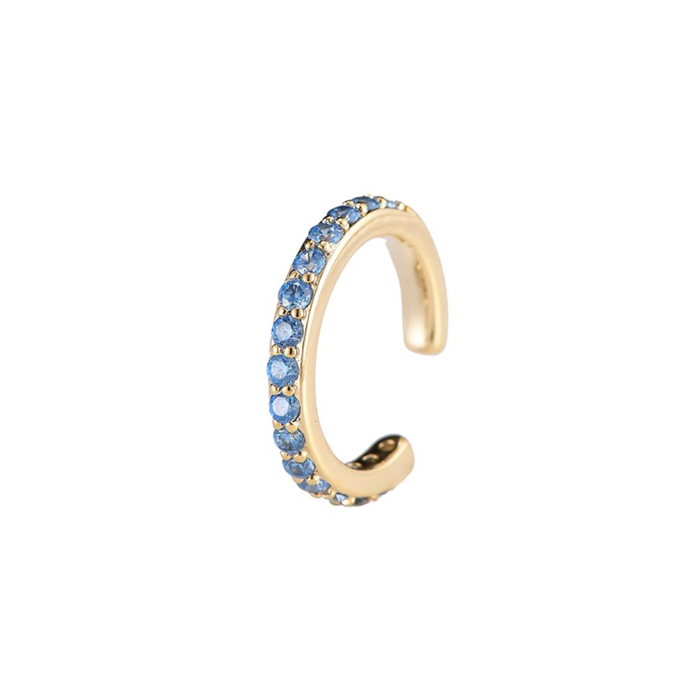 Ear Cuff Simple Gold Hellblau Ohrklemme