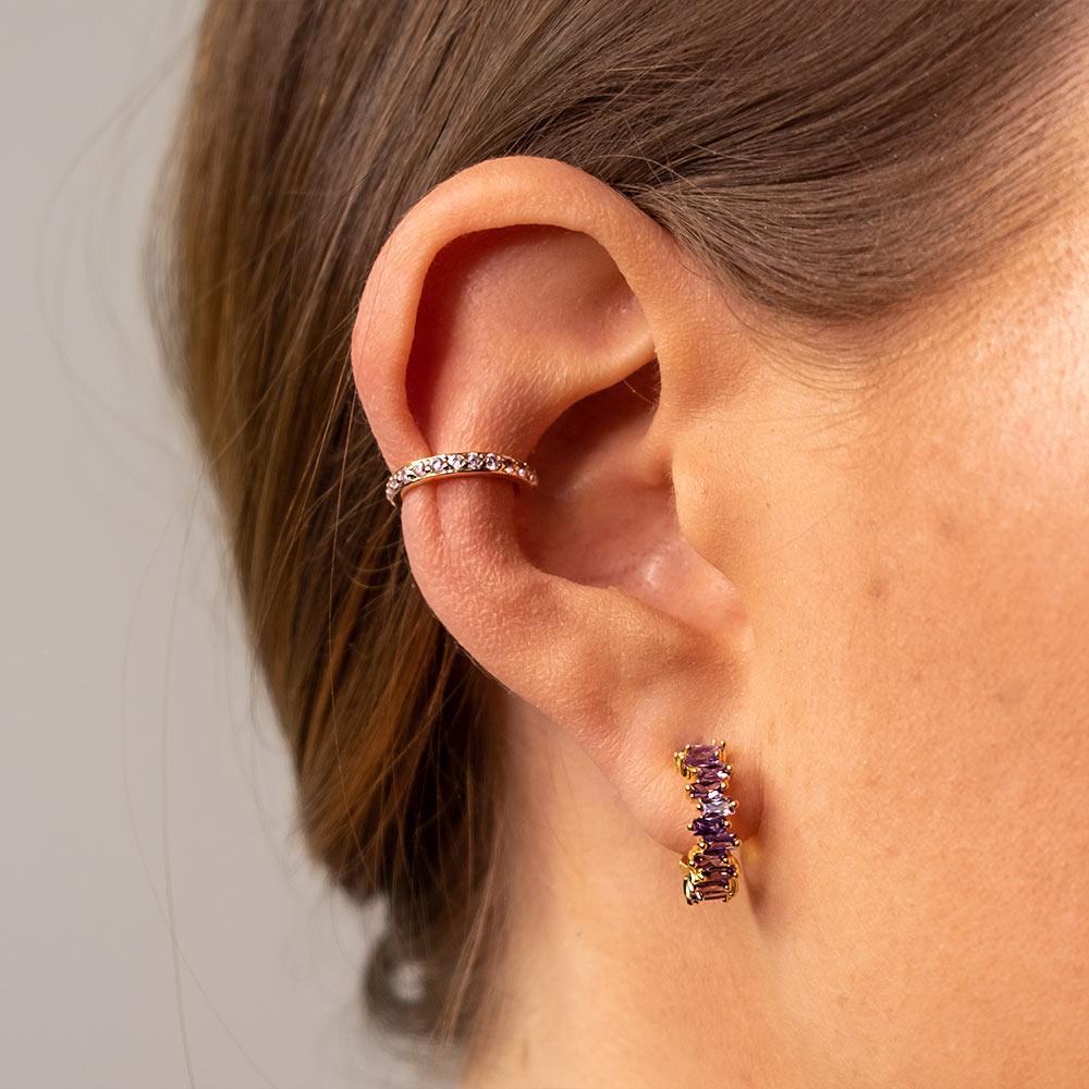 Ear Cuff Gold Rosa