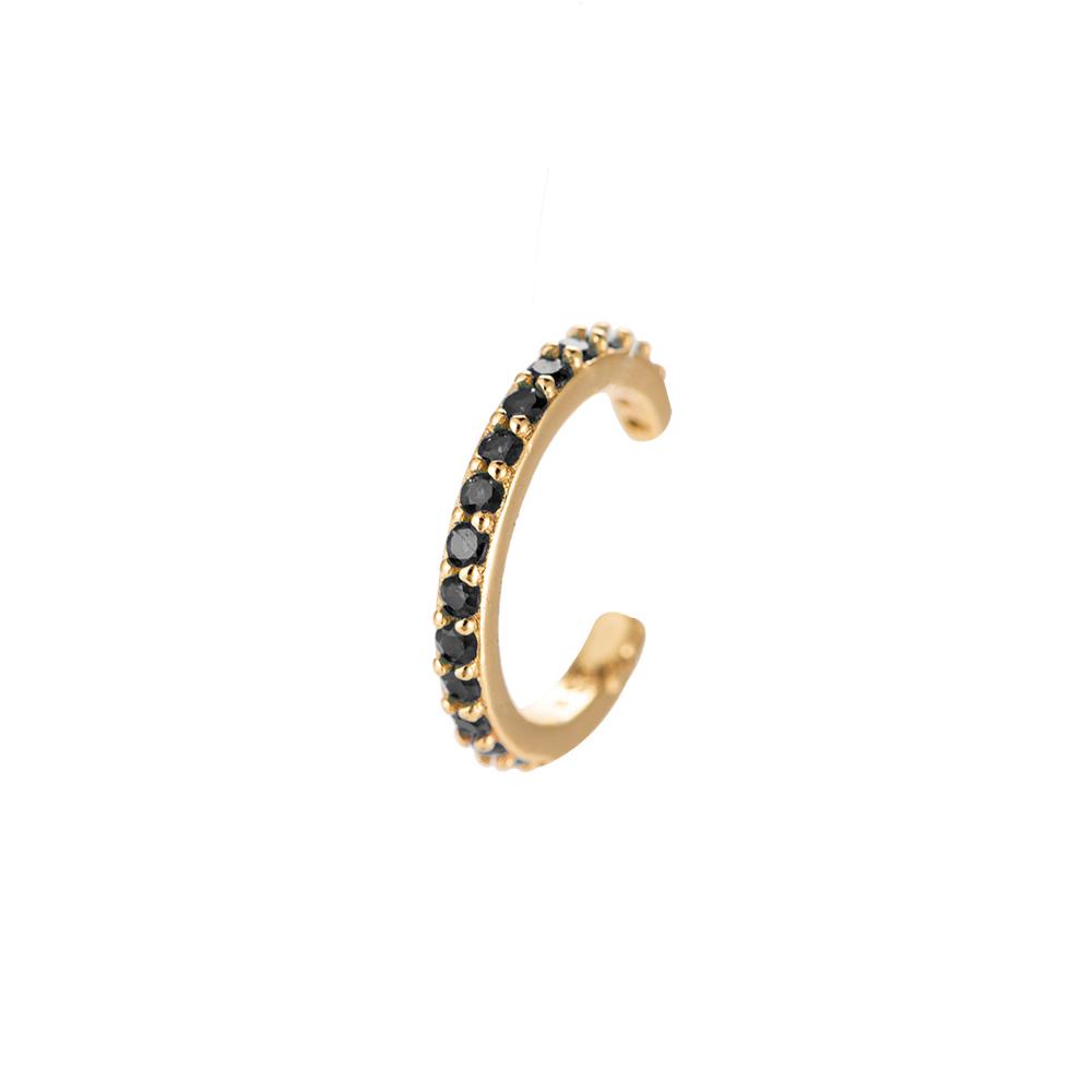 Ear Cuff Gold mit schwarzen Steinchen Zirkonia Ohrklemme