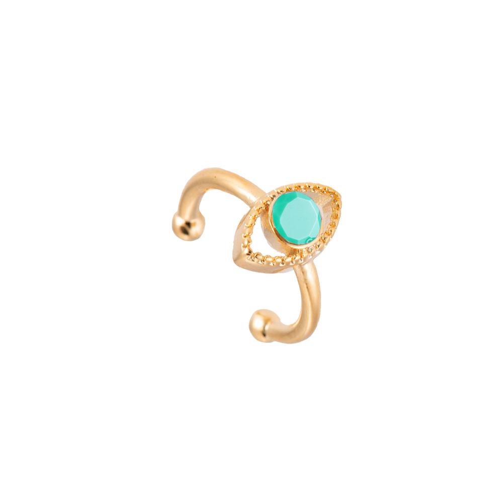 Ear Cuff Ohrclipser Auge Gold Türkis