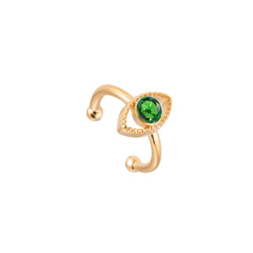 Ear Cuff Ohrclipser Auge Gold Grün