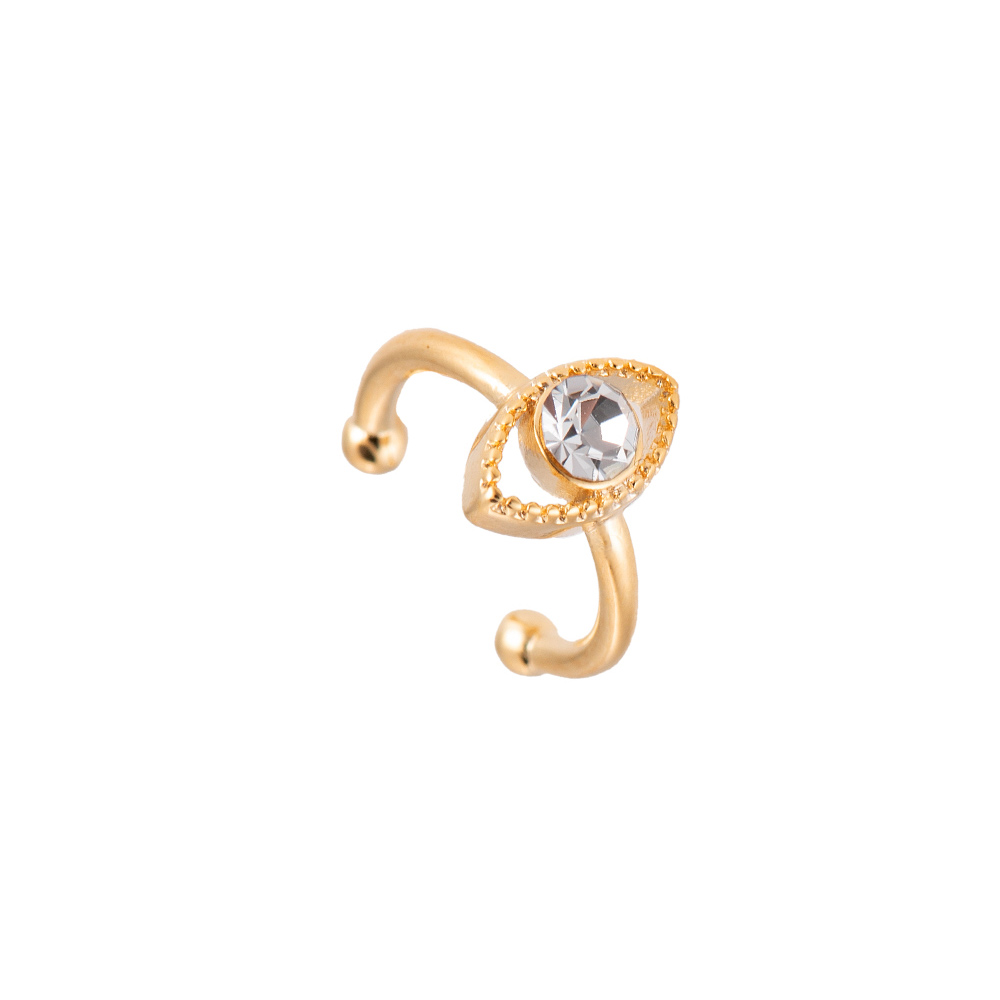 Ear Cuff Ohrclipser Auge Gold Weiß