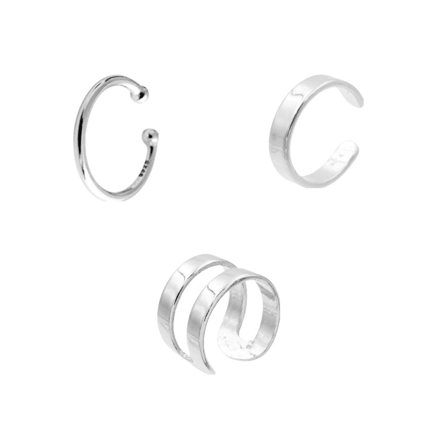 Premium Ear Cuff Set 925 Sterling Silber Gold 3er Set Silber