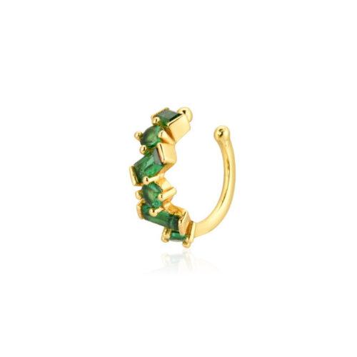 Ear Cuff Gold Grün echt Silber mit Zirkonia Steinchen