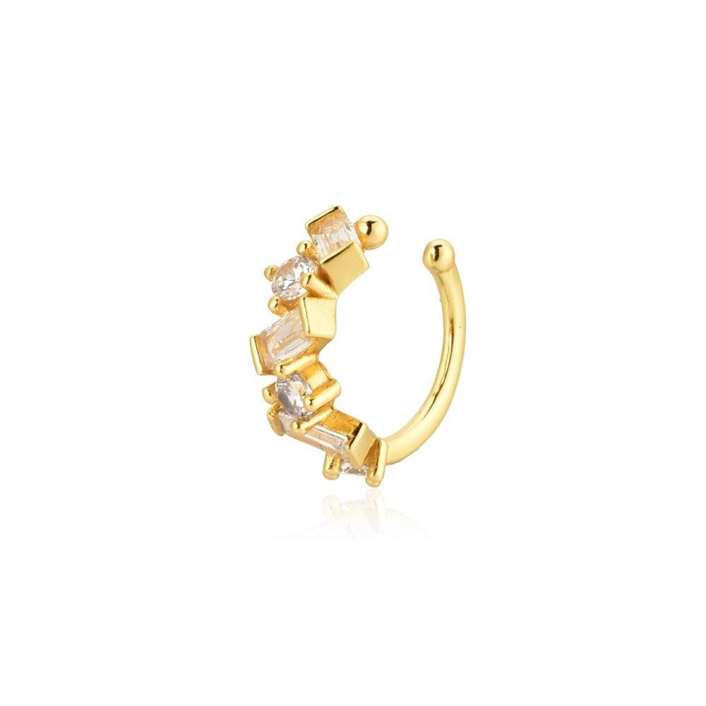 Ear Cuff Gold echt Silber mit Zirkonia Steinchen