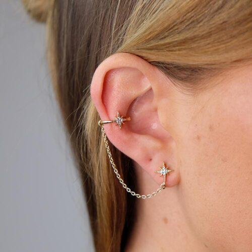 Ear Cuff mit Kette Gold Stern