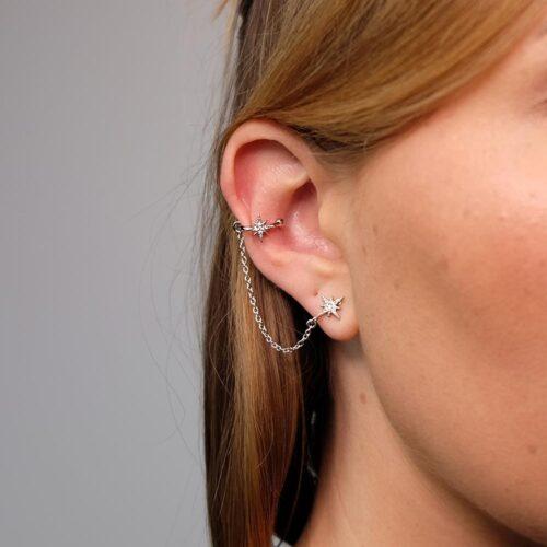 Ear Cuff mit Kette Silber Stern