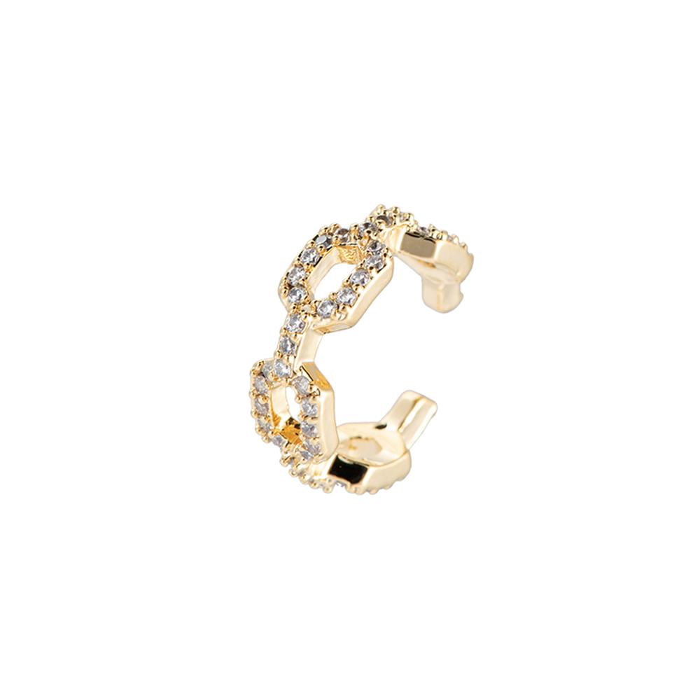 Ear Cuff Kettenoptik mit steinchen glitzernd in Gold