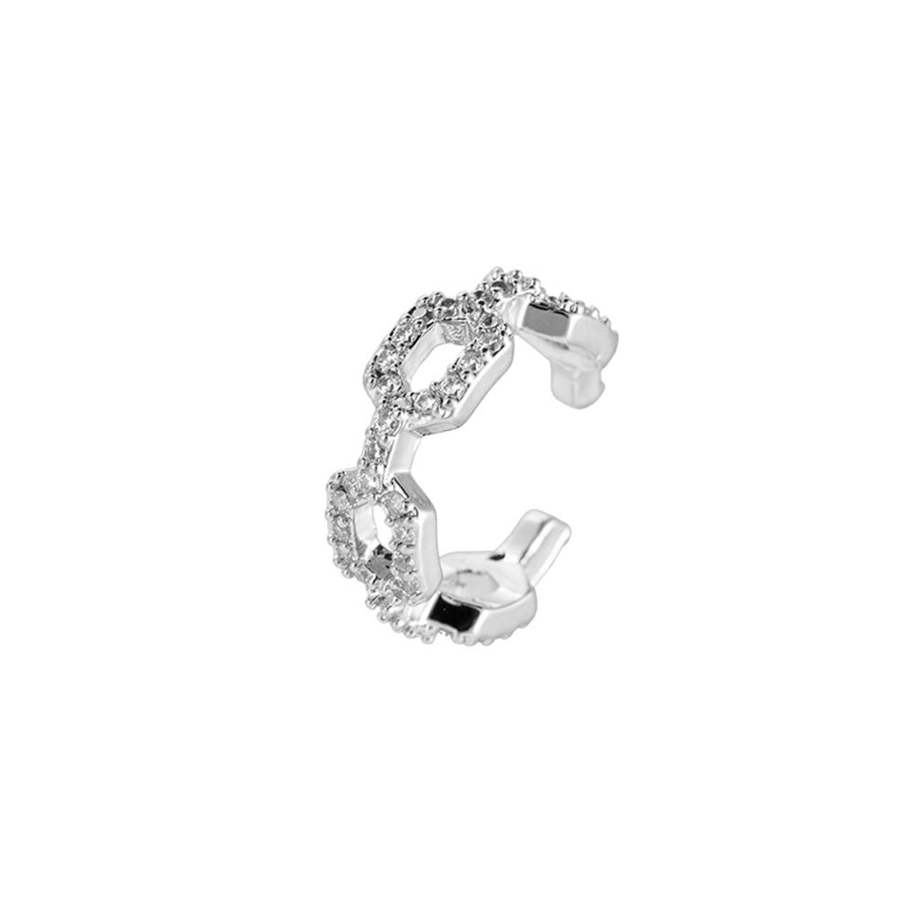 Ear Cuff Kettenoptik mit steinchen glitzernd in Silber