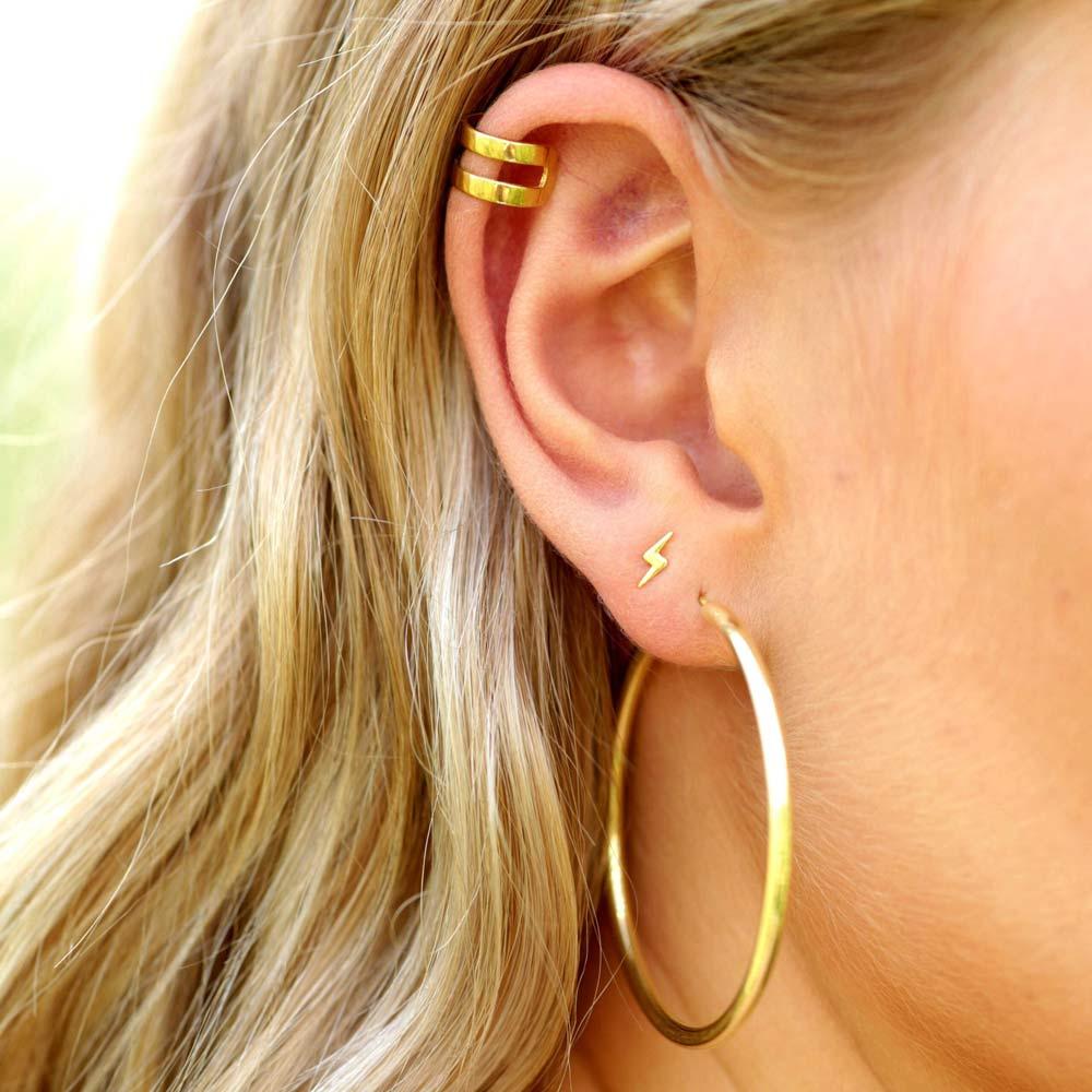 moderne Ohrringe Gold Blitz Ohrstecker Ear Cuff Trend SChmuck